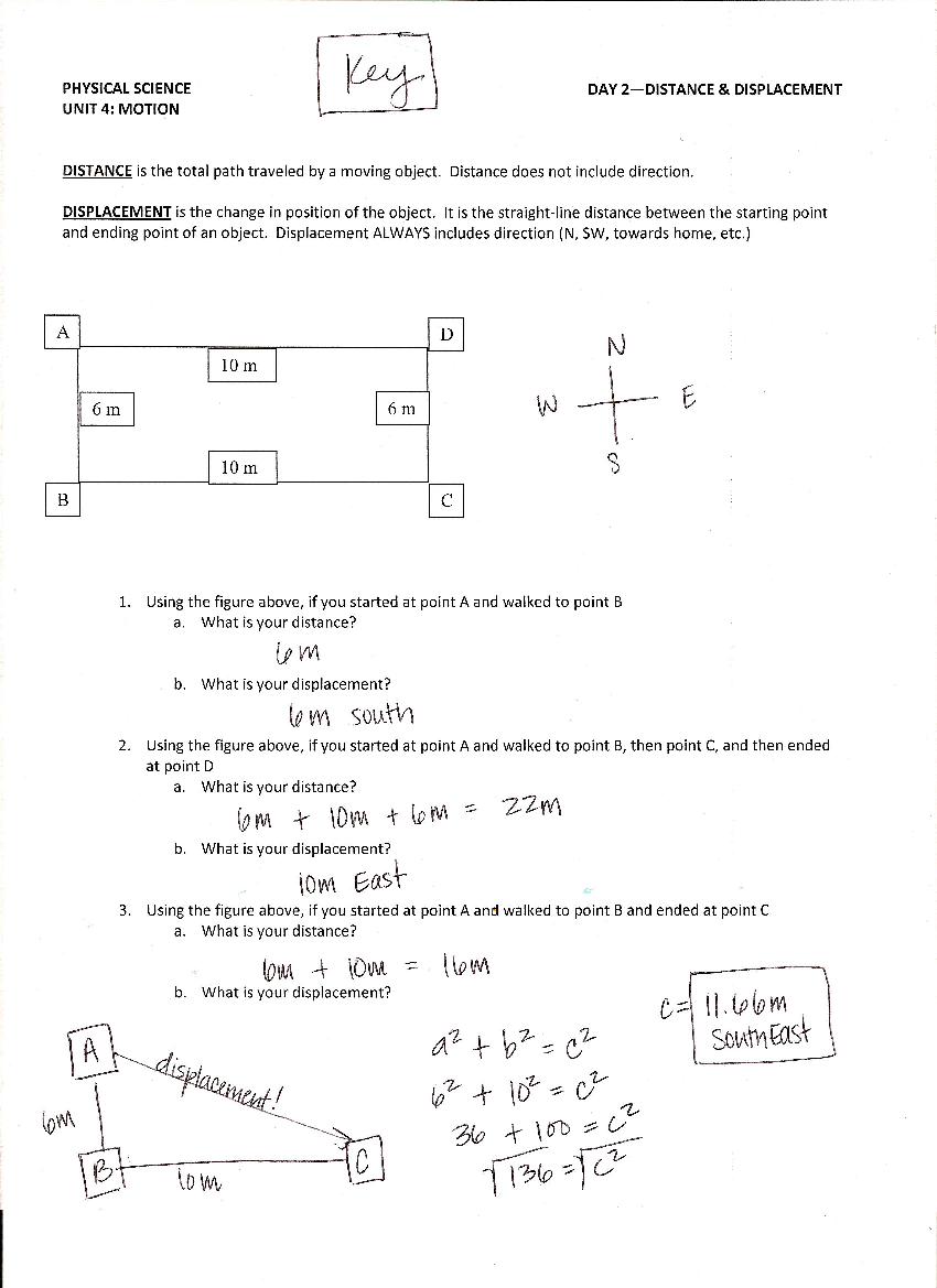 Distance Vs Displacement Worksheet Worksheet – Distance Displacement Worksheet